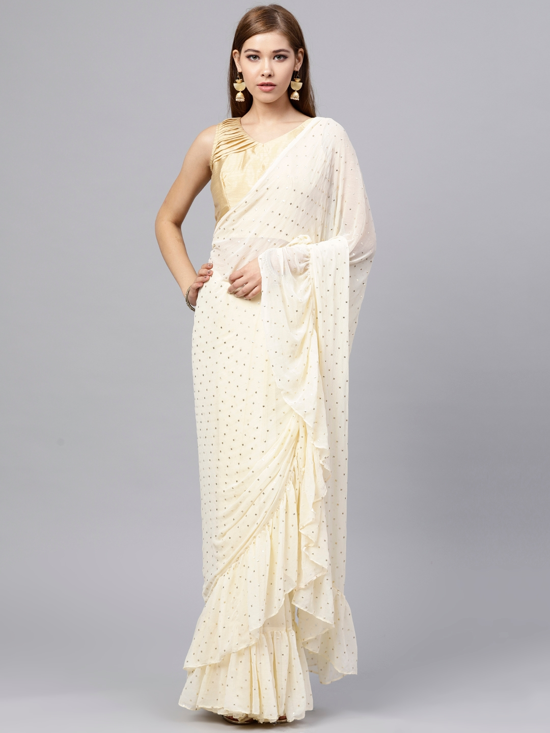 2899287bd2d6de Buy Inddus Women Cream Coloured And Golden Ruffle Embellished Saree ...