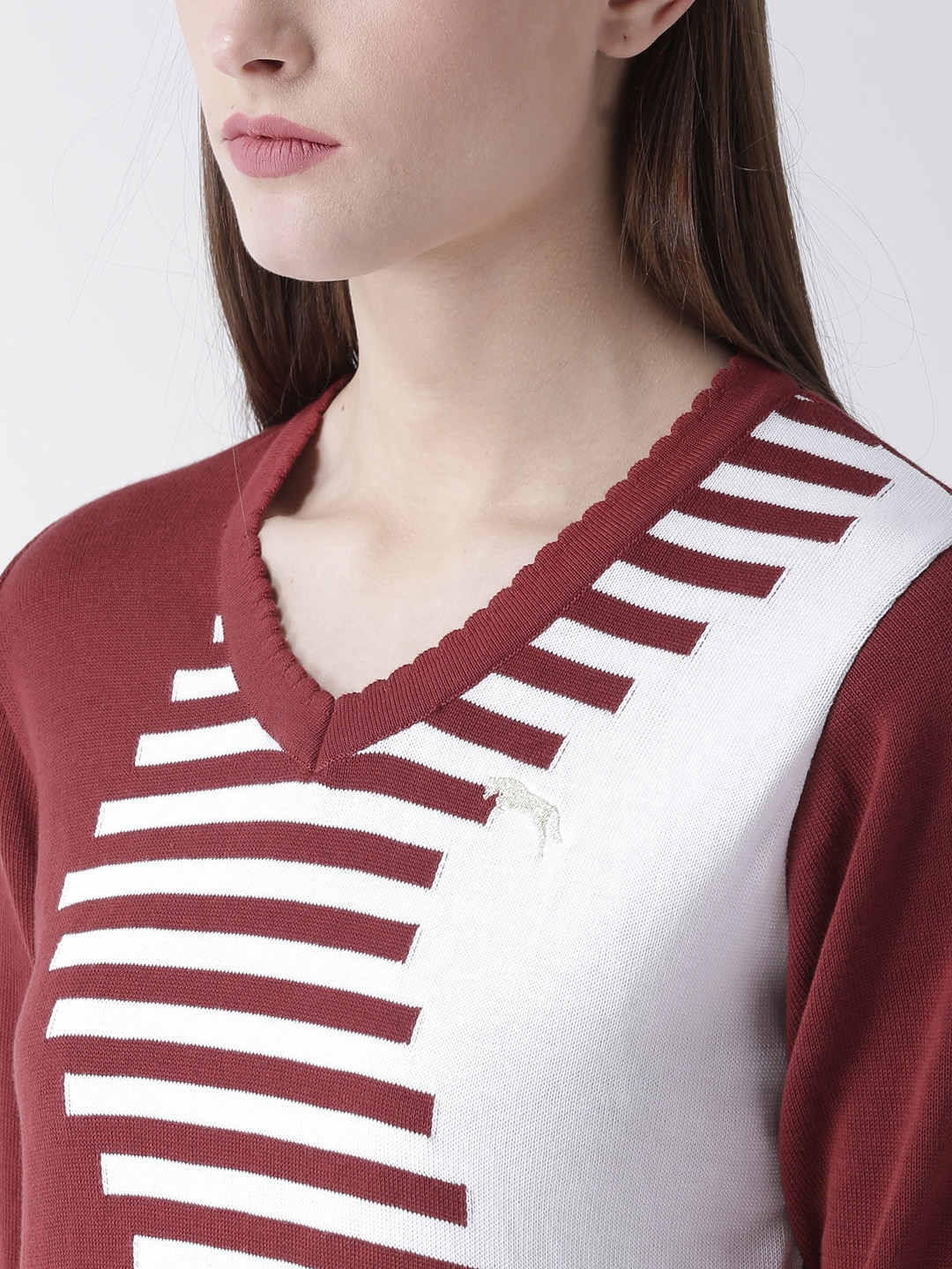 Buy JUMP USA Women Maroon   White Striped Pullover - Sweaters for ... 5016a6fe5