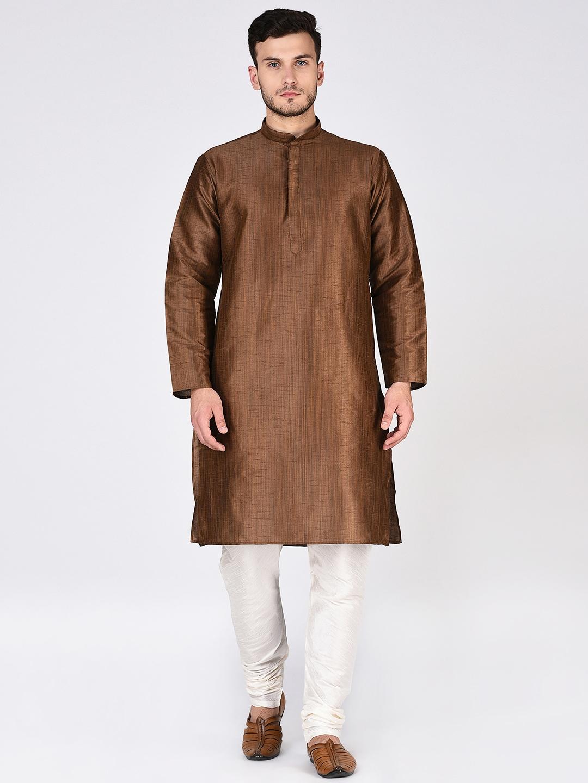 e3297aa419c06 Buy TAG 7 Men Brown   White Solid Kurta With Pyjamas - Kurta Sets ...