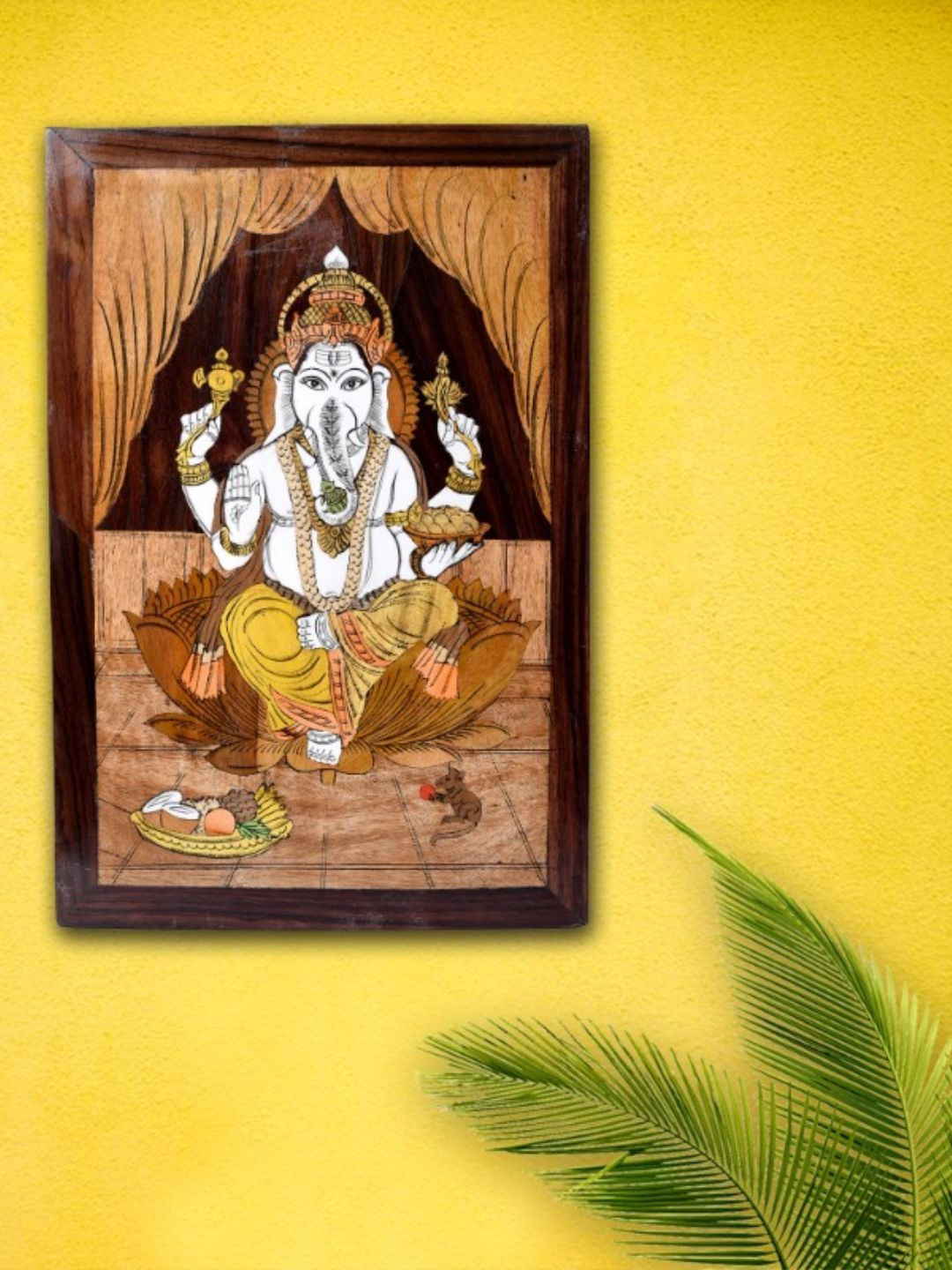 Unravel India Brown Ganesha Wooden Inlay Wall Painting