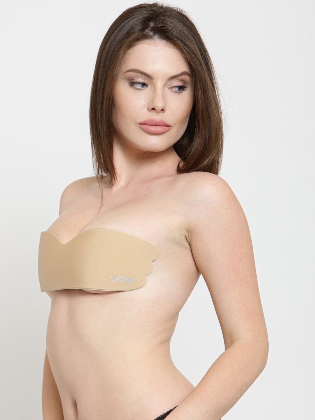 a5bdb07bc55e7 Buy N Gal Beige Solid Non Wired Lightly Padded Stick On Push Up Bra ...