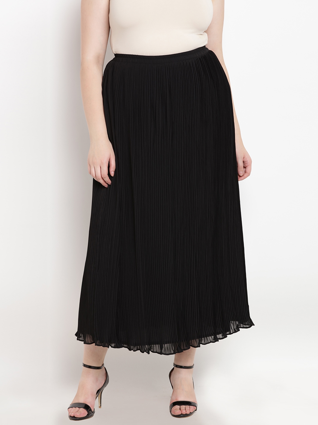 ca8969e585 Buy The Pink Moon Women Black Pleated Solid Straight Maxi Skirt ...