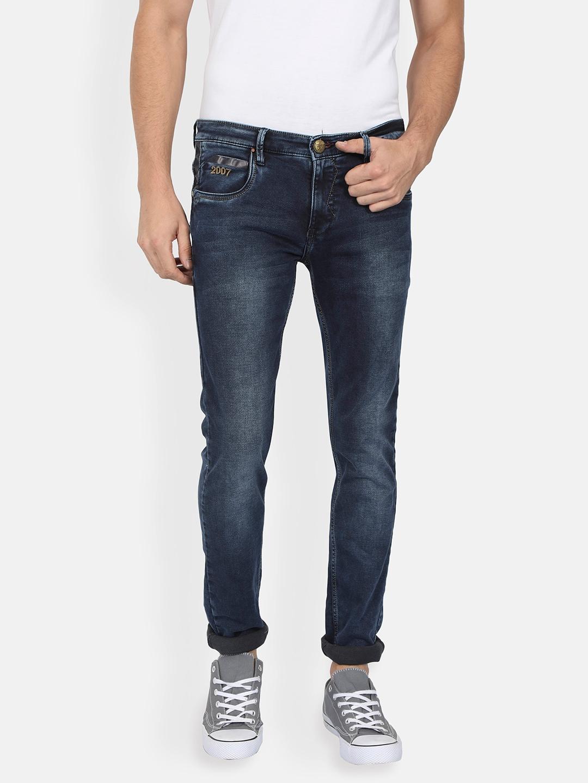 Buy RICK ROGUE Men Navy Blue Slim Fit Mid Rise Clean Look
