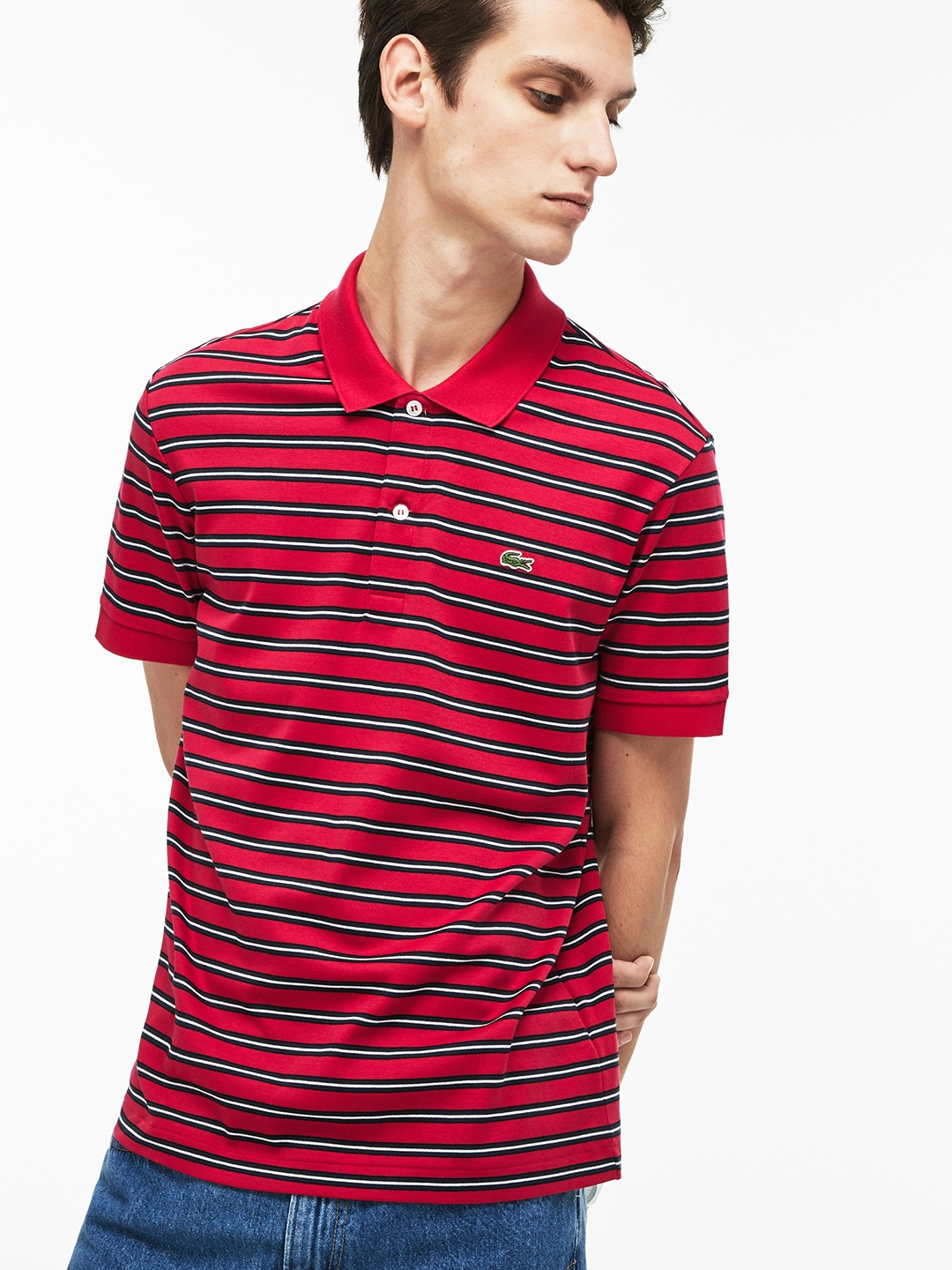 9fbab6a6 Buy Lacoste Men Red Striped Polo Collar T Shirt - Tshirts for Men ...