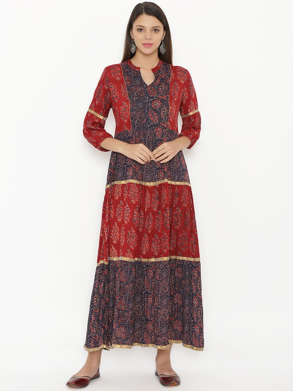 b5c92dd5a3b8 Buy Alom Women Maroon Printed Maxi Dress - Dresses for Women 7571059 ...