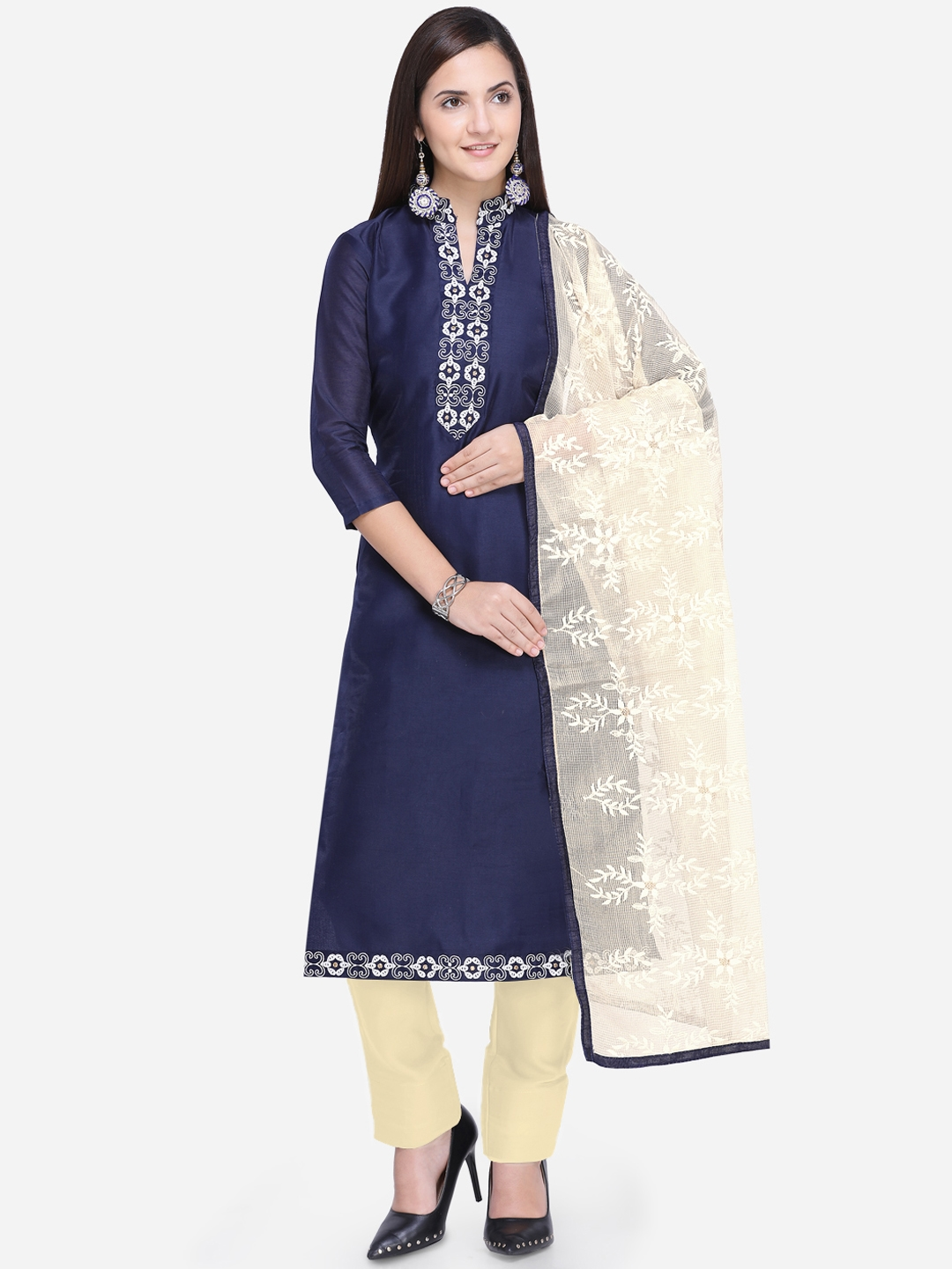 Saree mall Navy Blue   Cream-Coloured Cotton Blend Semi-Stitched Dress  Material b8dd57eda