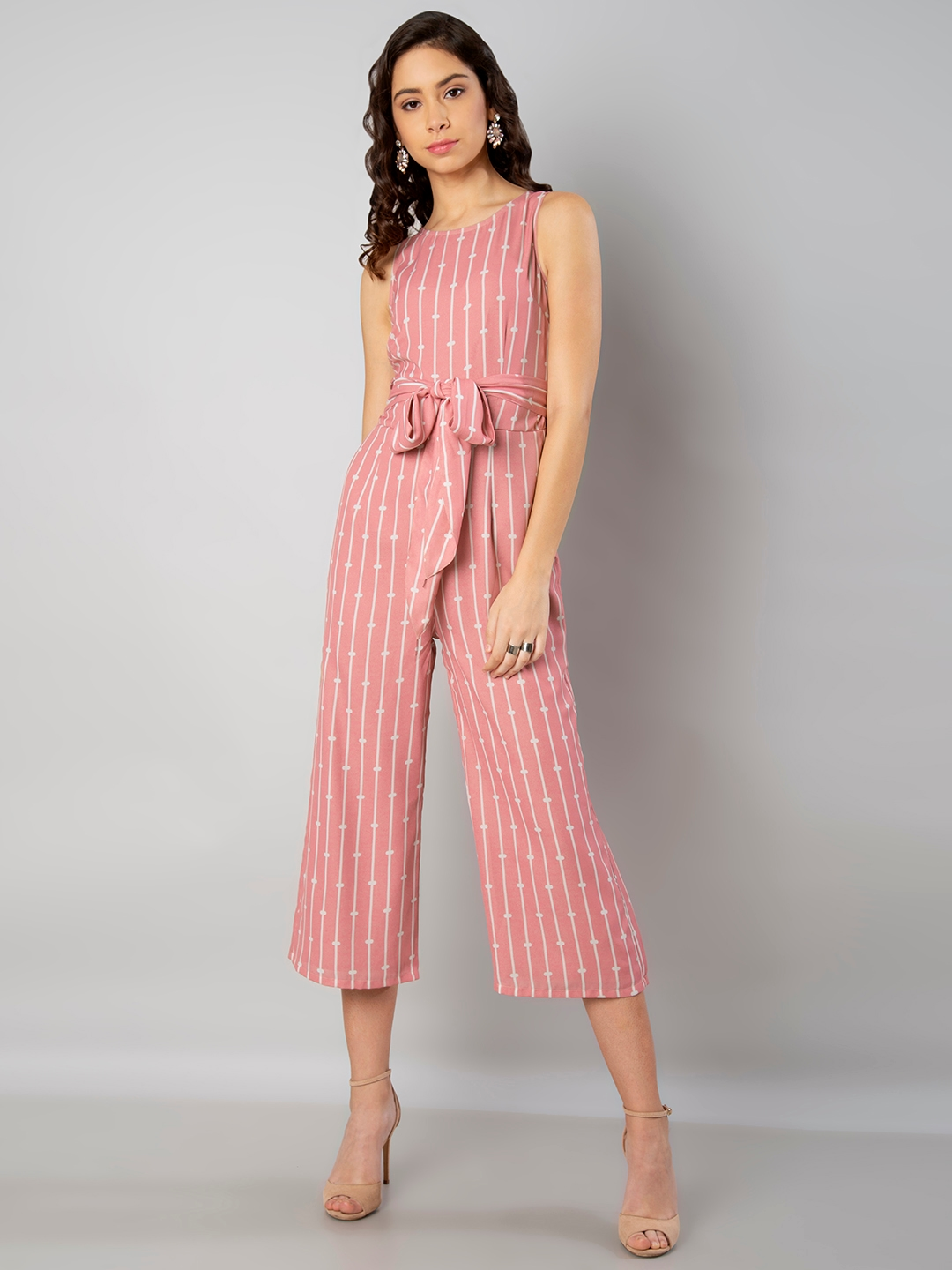 52496b0a772 Buy FabAlley Pink Striped Culotte Jumpsuit - Jumpsuit for Women ...