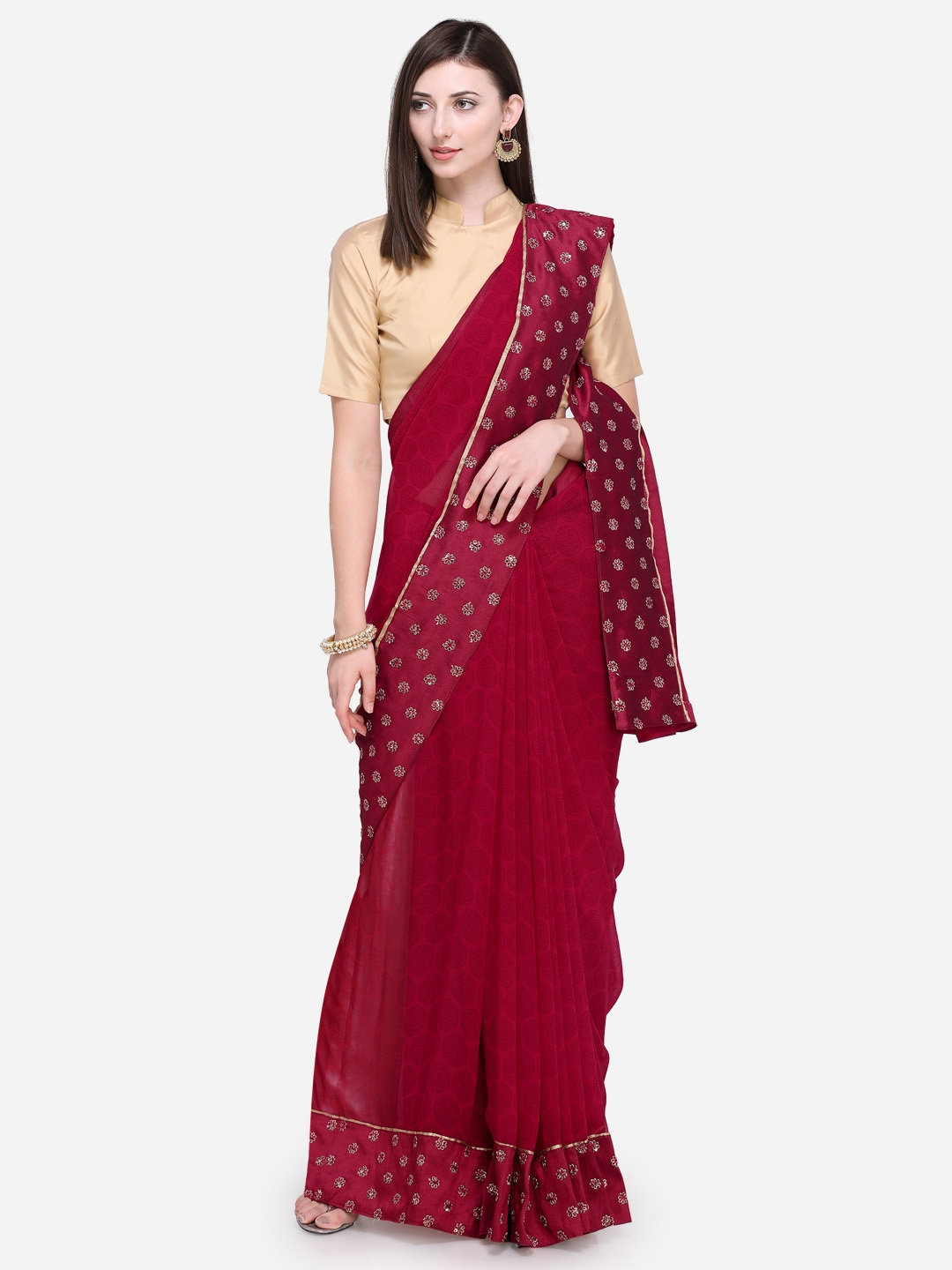 63f2a716fa8 Buy Triveni Maroon Printed Poly Georgette Saree - Sarees for Women ...