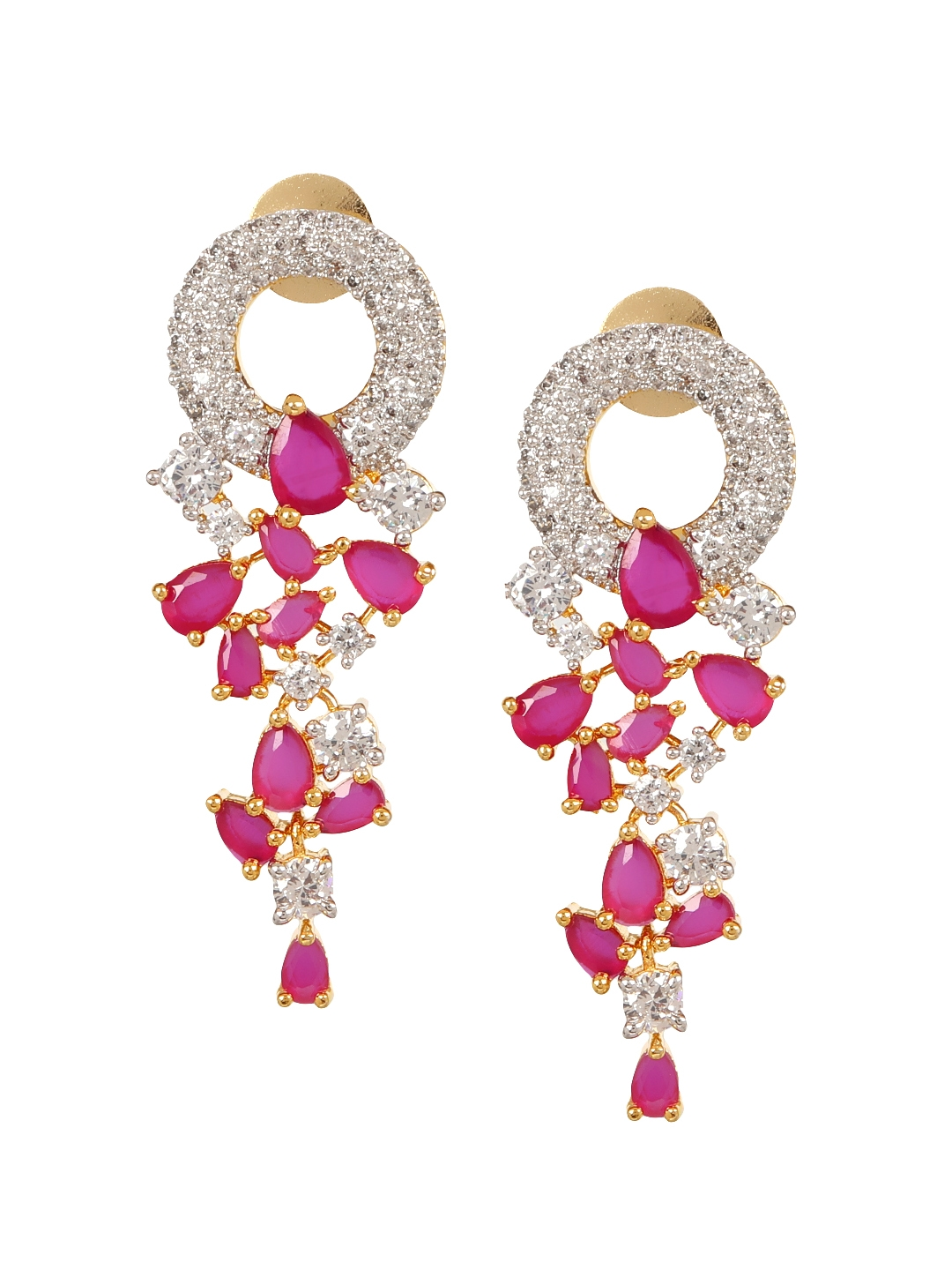 2d539a47de891 Buy Adwitiya Collection Gold Plated & White Double Sided Floral Drop ...
