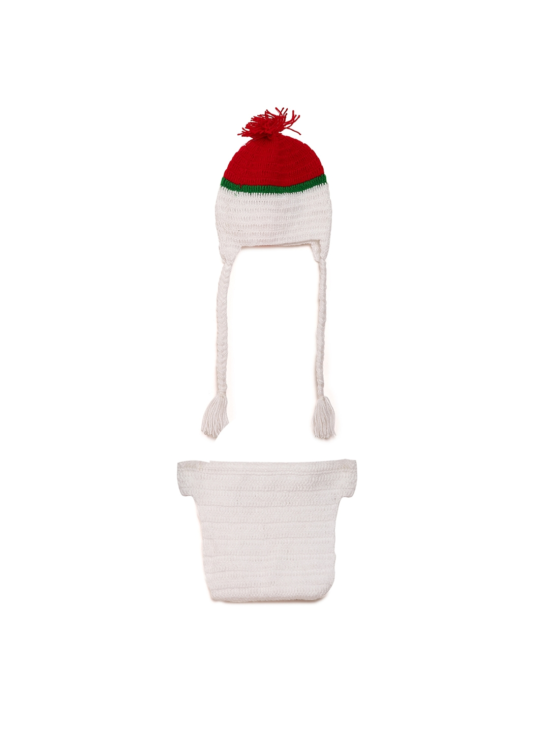 Buy CHUTPUT Unisex White Self Design Beanie With A Diaper - Caps for ... 1a53192c0b2