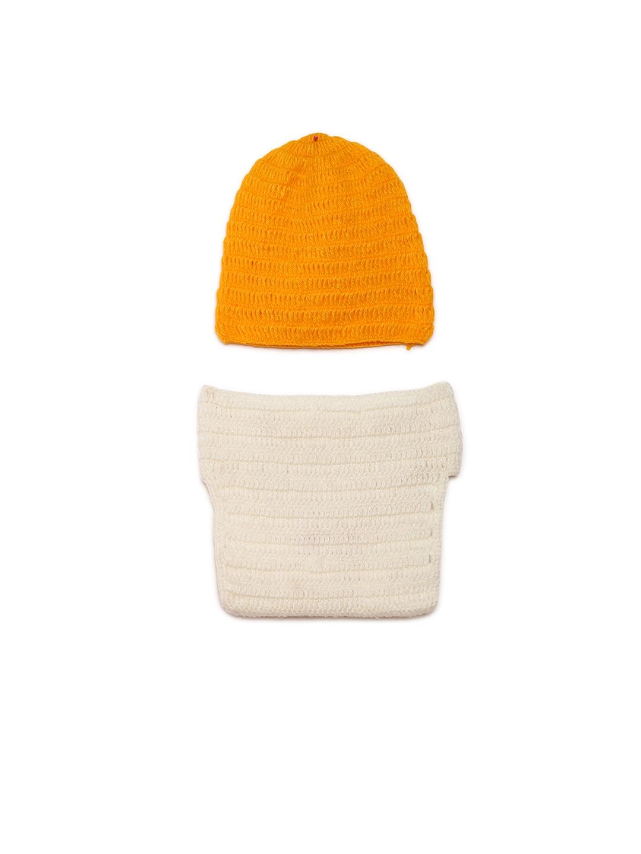 Buy CHUTPUT Unisex Orange   Off White Self Design Beanie - Caps for ... 0f48c814f70