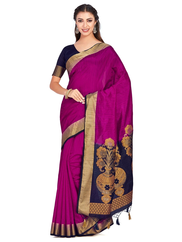 ac0fd2fc716 Buy MIMOSA Magenta Art Silk Woven Design Kanjeevaram Saree - Sarees ...