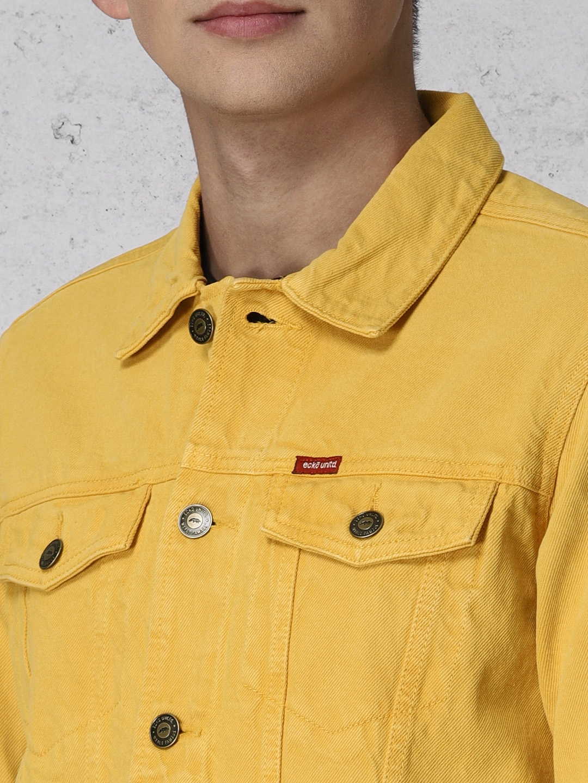 Buy Ecko Unltd Men Mustard Yellow Solid Denim Jacket Jackets For