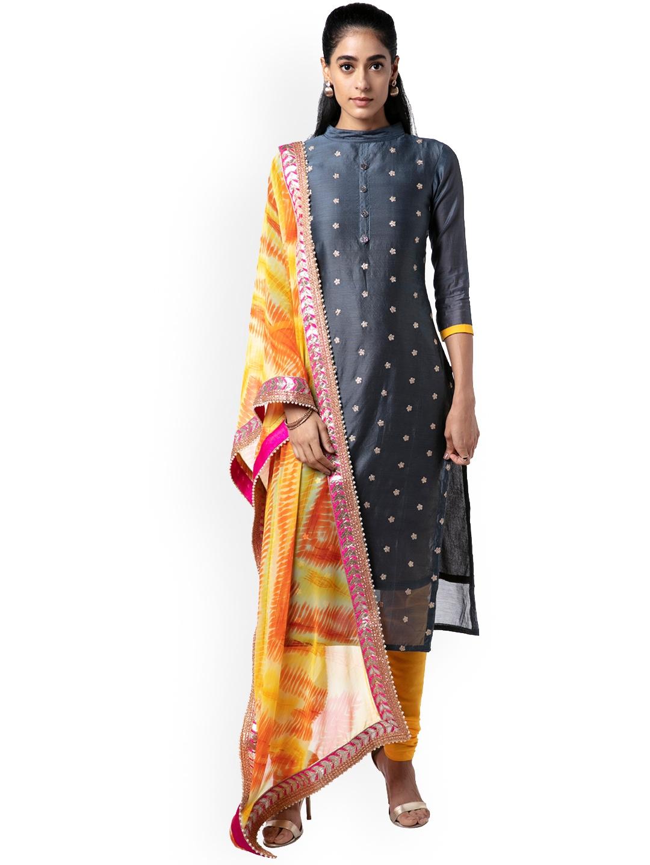 d2da9be04d62 Buy Soch Grey   Yellow Pure Silk Unstitched Dress Material - Dress ...