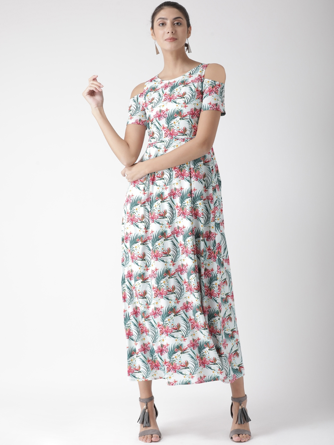 The Vanca Women Off White Printed Fit and Flare Dress