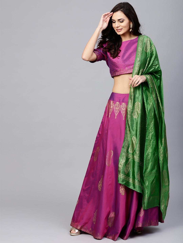 75a909fdb9 AKS Purple & Green Block Print Ready to Wear Lehenga & Choli with Dupatta