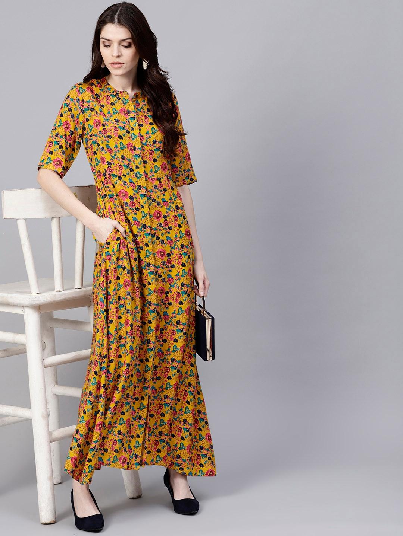 b6c878fd88a Buy AKS Women Mustard Yellow   Pink Printed Maxi Dress - Dresses for ...