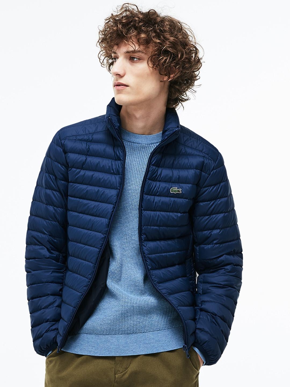 5ddebef116 Buy Lacoste Men Navy Blue Solid Lightweight Puffer Jacket - Jackets ...