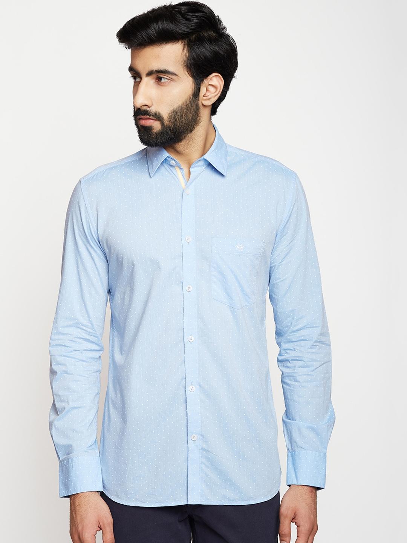 eb841d5f Buy Crimsoune Club Men Blue Slim Fit Printed Casual Shirt - Shirts ...