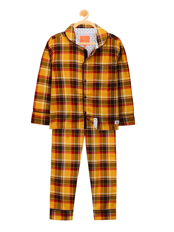 a349936b670 Buy Cherry Crumble Unisex Mustard   Black Checked Night Suit - Night ...
