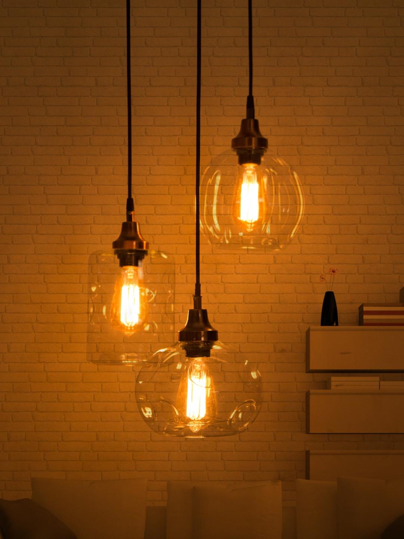 Fos Lighting Copper Toned 3 Drop Pendant Lights Ceiling Lamp