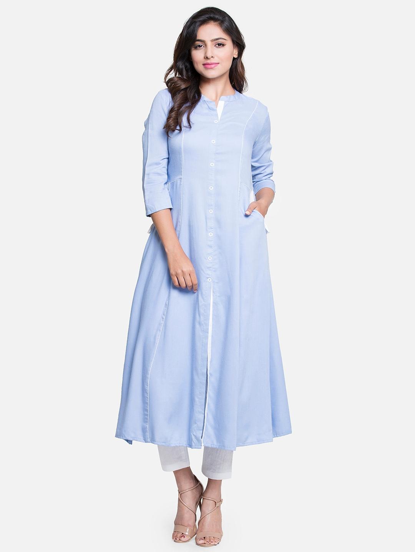 52124476704c Buy PINKSKY Women Blue Solid A Line Kurta - Kurtas for Women 7591451 ...
