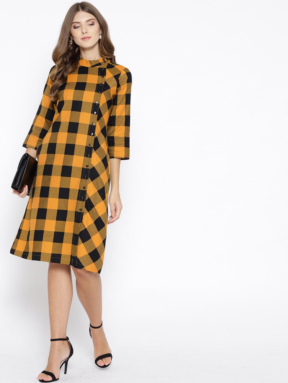 9709345f Buy Ayaany Women Mustard Yellow & Black Checked Shirt Dress ...