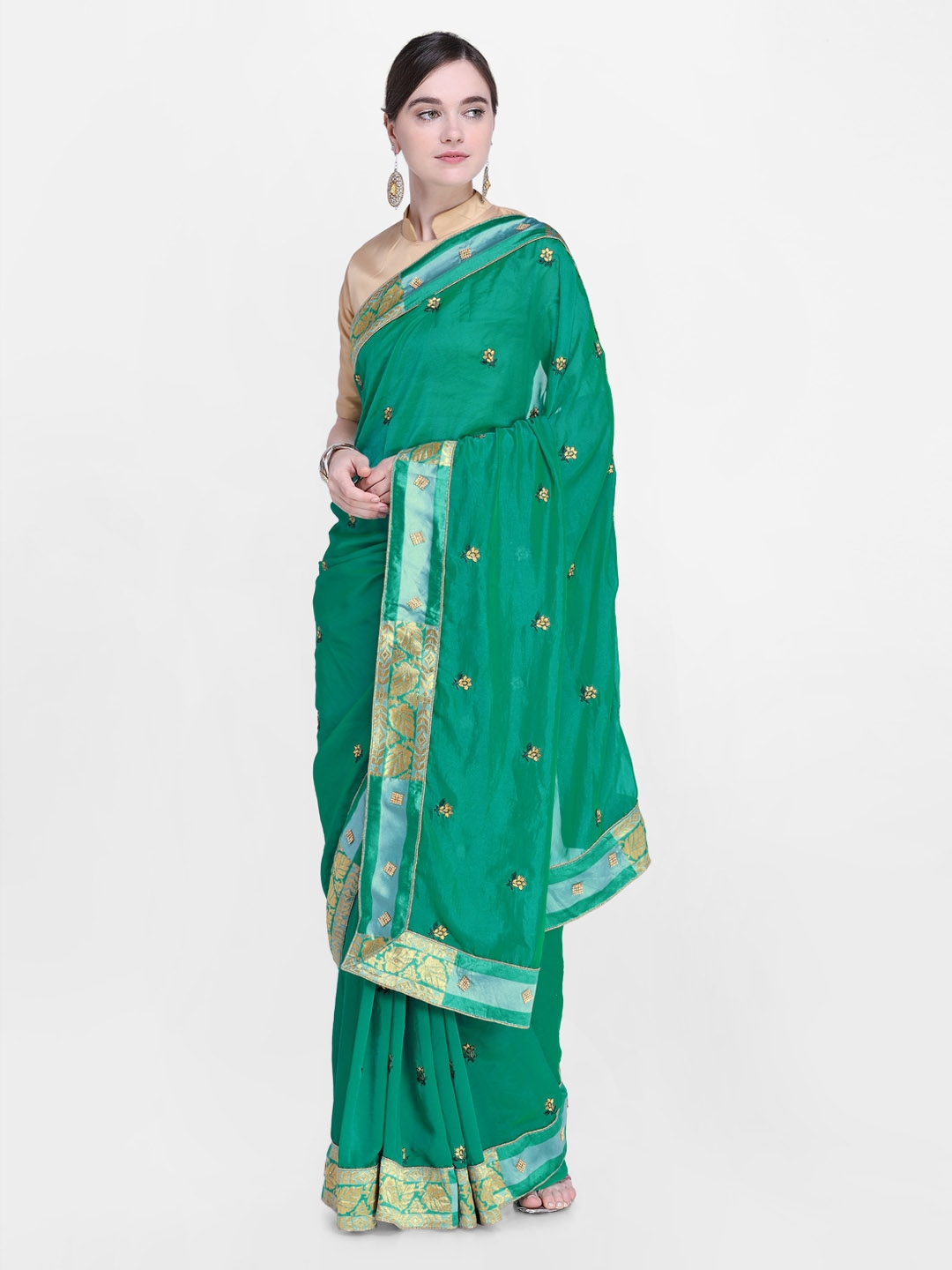 190e44f6ce Buy Kalista Green Embroidered Poly Georgette Saree - Sarees for ...
