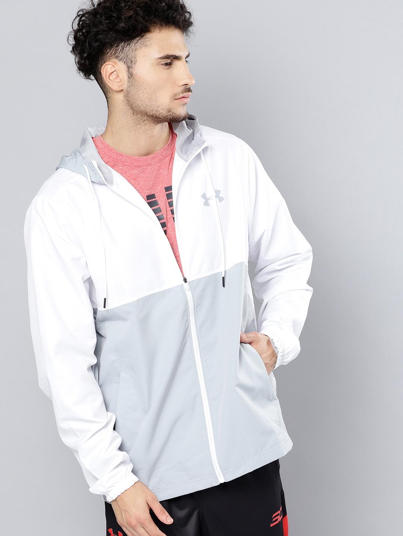 977eded49967 Buy UNDER ARMOUR Men White & Grey Sport Style Woven Full Zip Hooded ...