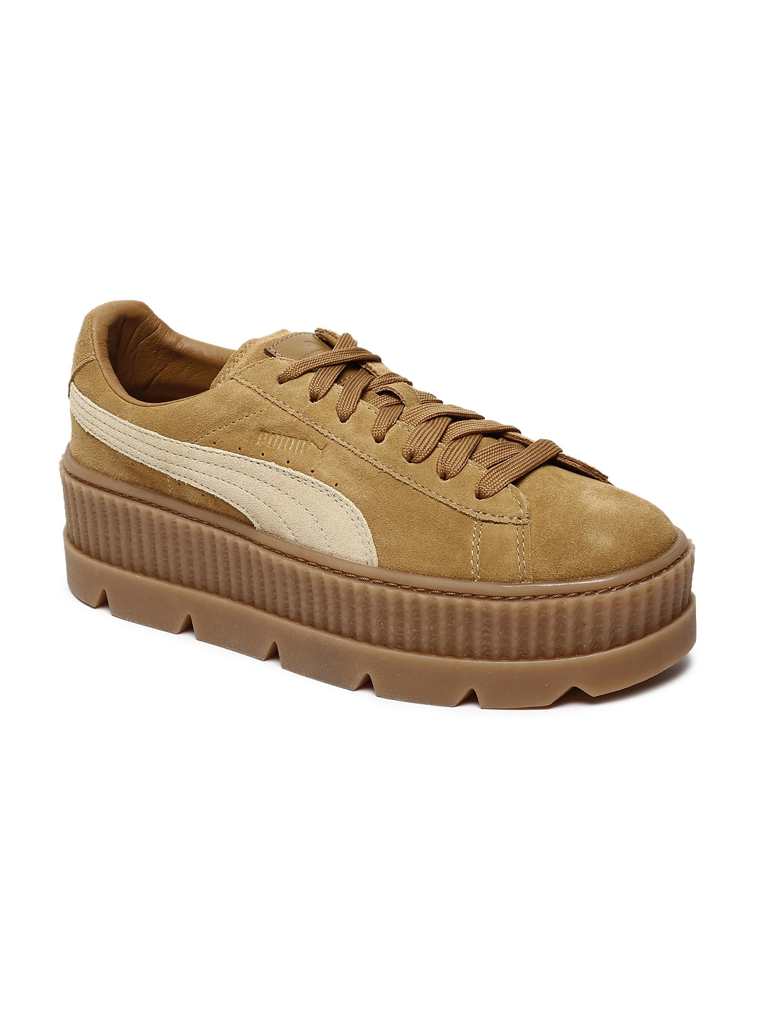 new style 4b5dc cd3b9 Buy Puma Women Tan Brown Cleated Creeper Suede Sneakers ...