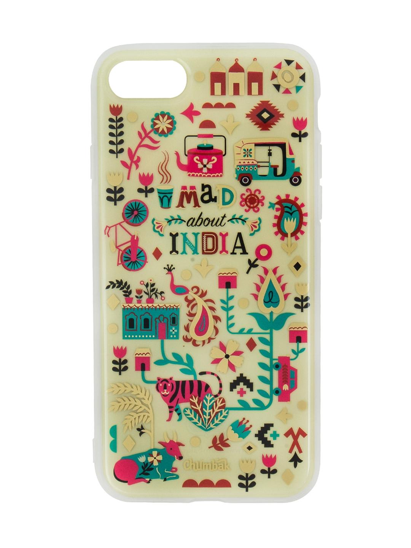 size 40 b3942 fdd27 Chumbak White Urban Jungle Printed 3D Gold iPhone 8 Case