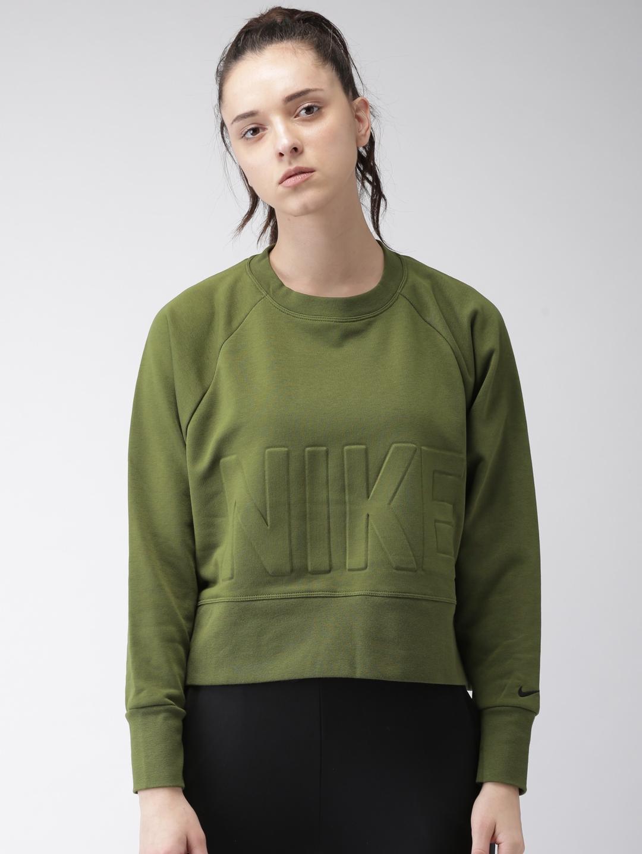 a3dad8bb3a39c Nike Women Olive Green Solid Loose Fit VERSA CREW Dri-FIT Training  Sweatshirt