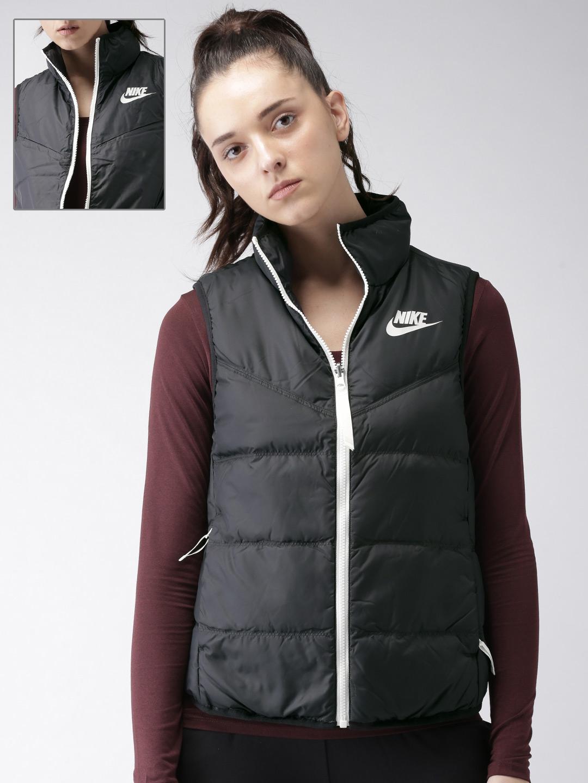 09a384eff51d Nike Women Black Solid Standard Fit DWN FILL VEST Reversible Padded Jacket