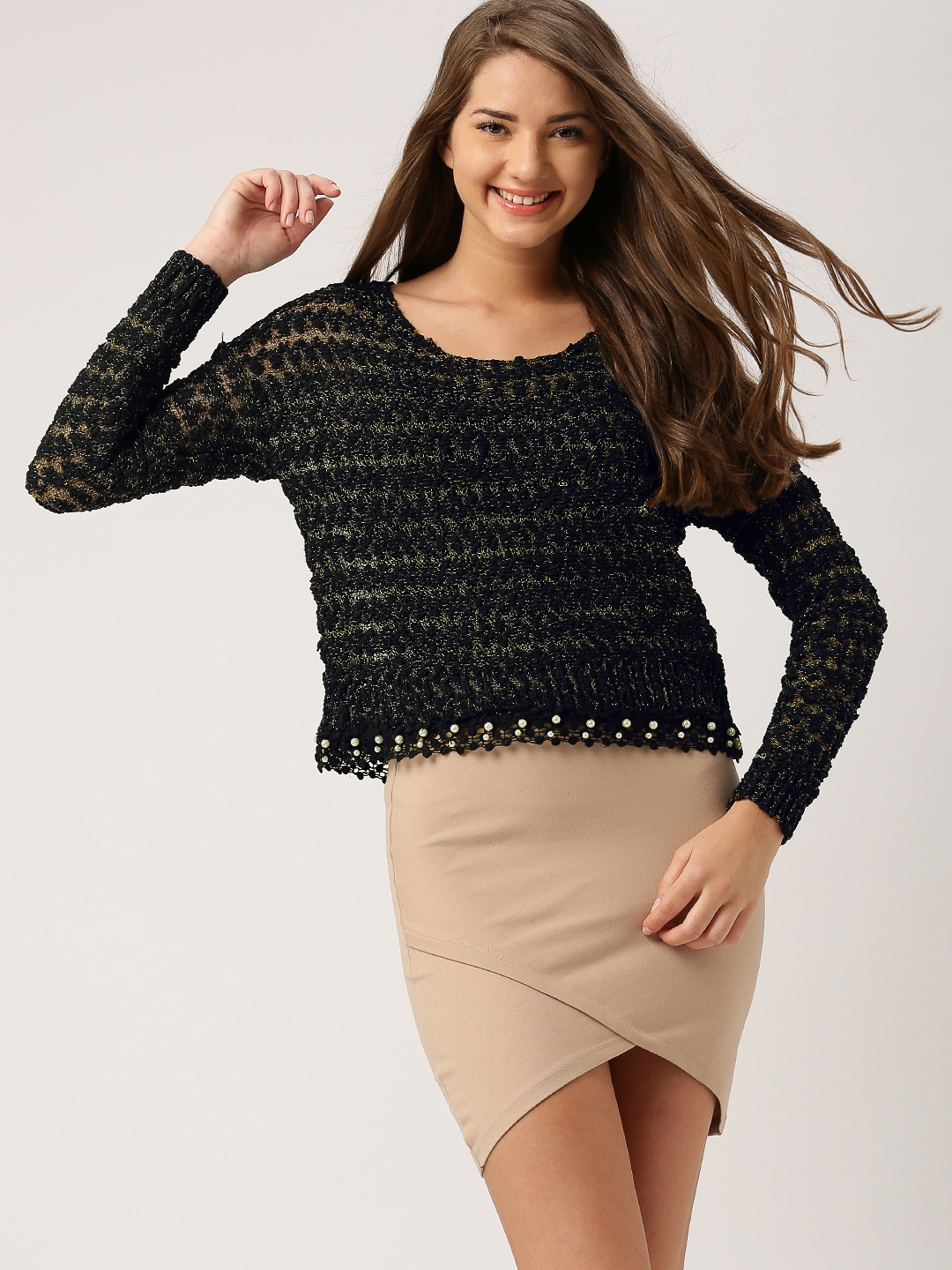 f4a6d121dd Buy DressBerry Black   Gold Toned Shimmery Crop Sweater - Sweaters ...