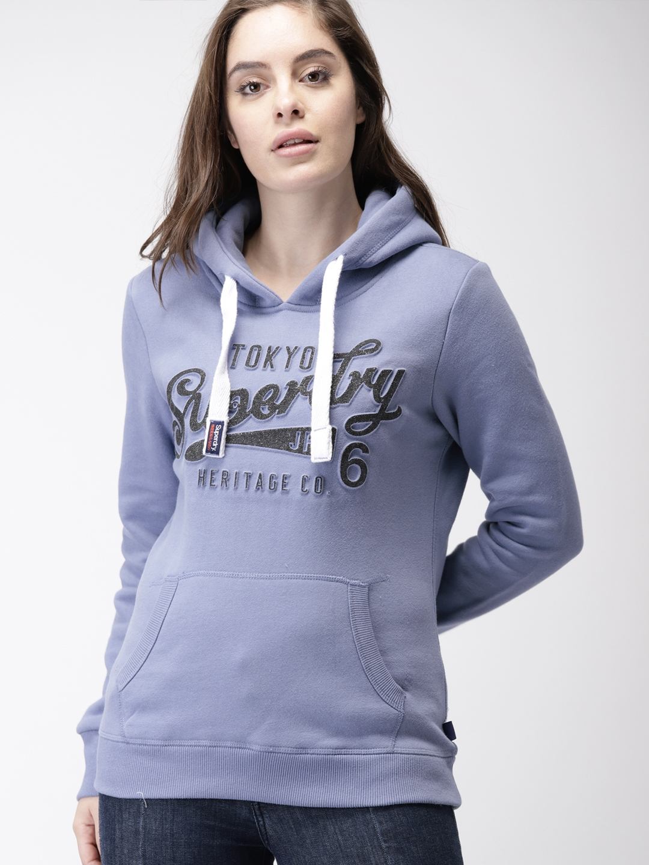 f6f49ffb934 Buy Superdry Women Blue Printed Hooded Sweatshirt - Sweatshirts for ...