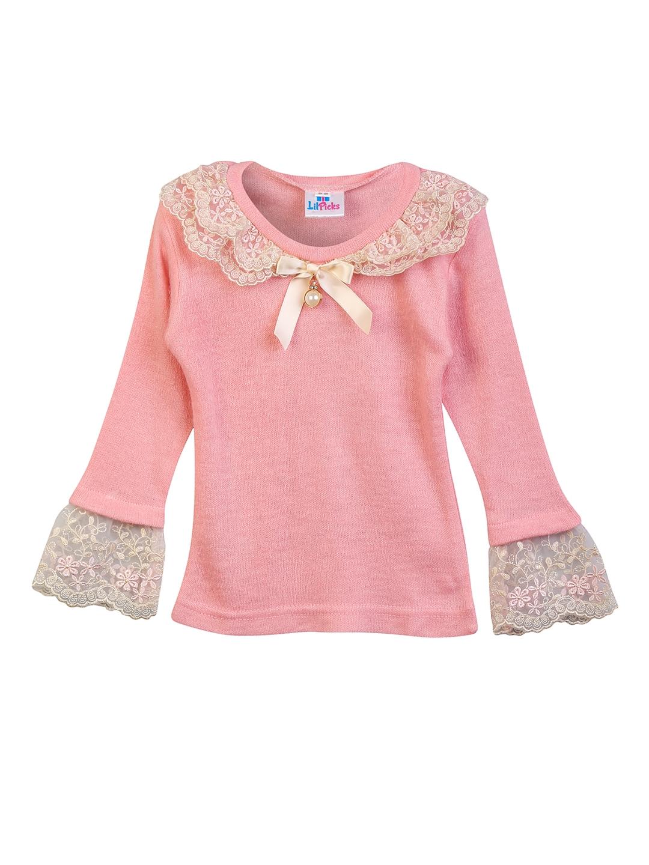 9659f0d09660 Buy LilPicks Girls Pink Self Design Woolen Top - Tops for Girls ...