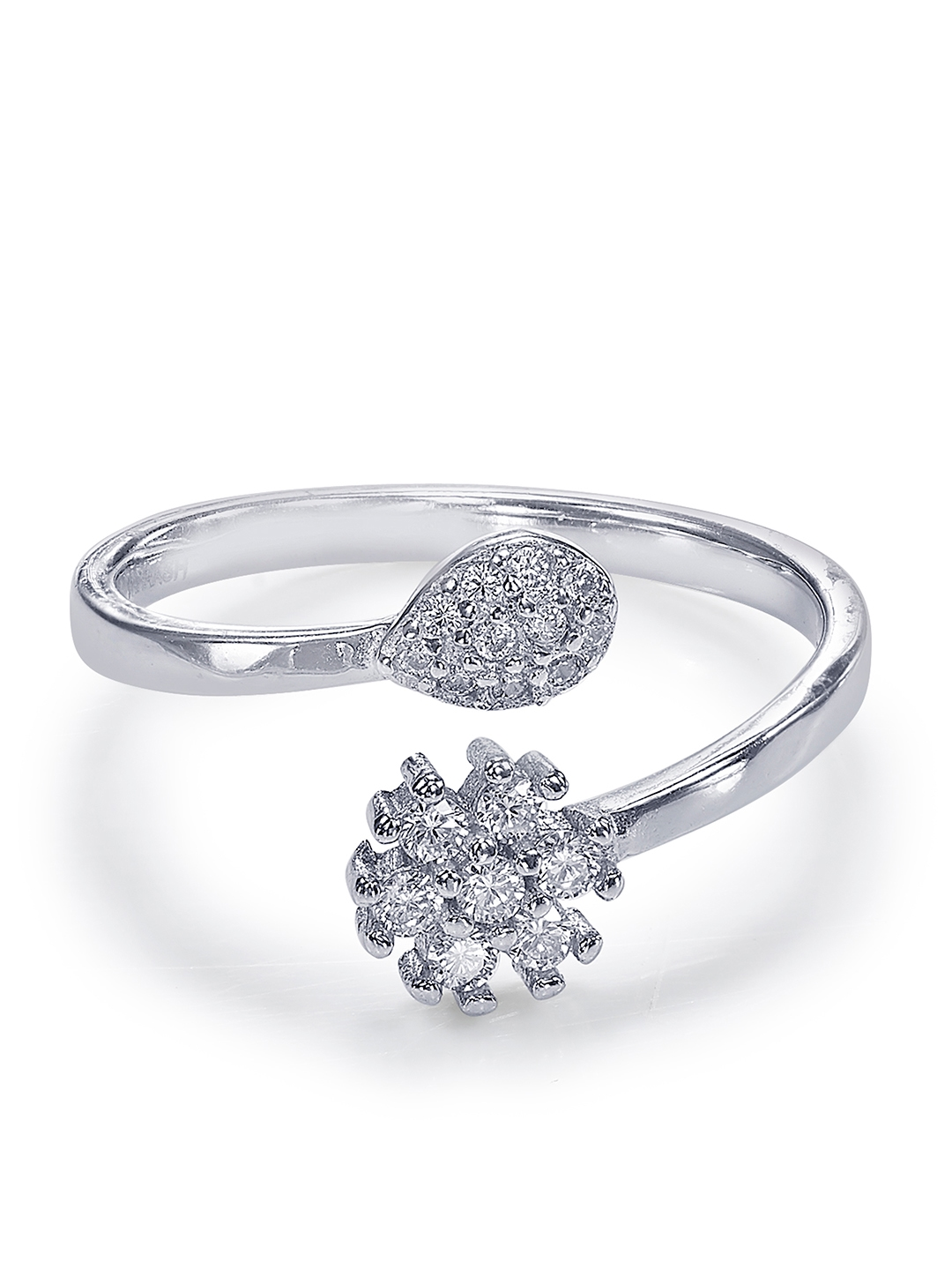 0183354afc6fd Buy Taraash Sterling Silver Toned & White Cubic Zirconia Stone ...