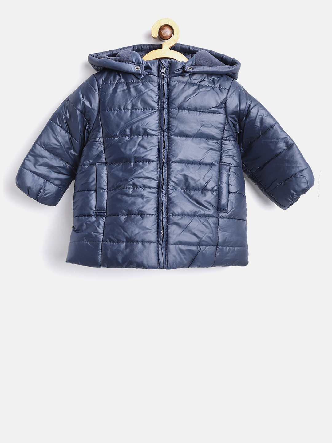 b463fe0fd Buy Losan Girls Navy Blue Solid Hooded Puffer Jacket - Jackets for ...