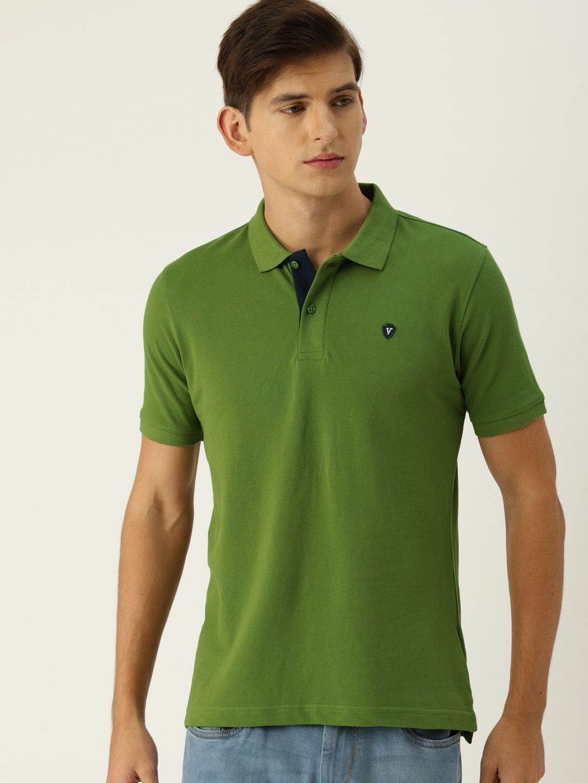 060bd4a1f6d37 Buy Van Heusen Men Green Solid Polo Collar T Shirt - Tshirts for Men ...