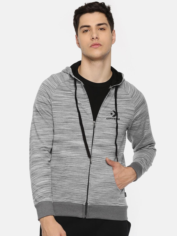 Converse Men Grey Self Striped Hooded Sweatshirt