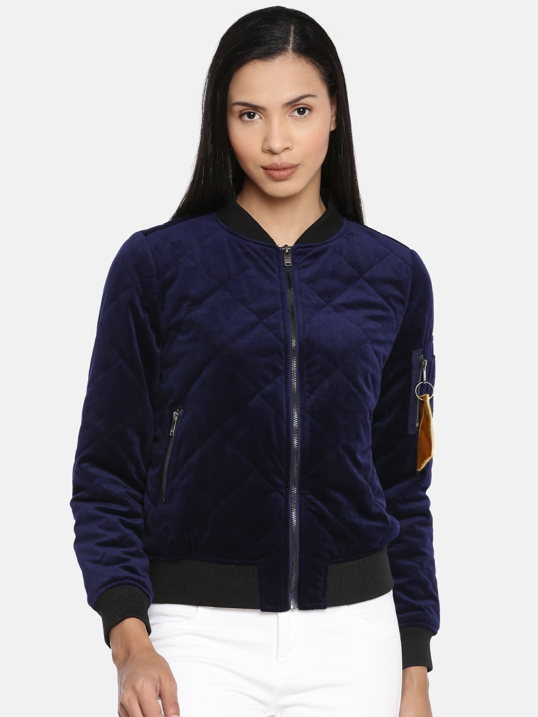 ONLY Women Blue Solid Velvet Quilted Jacket