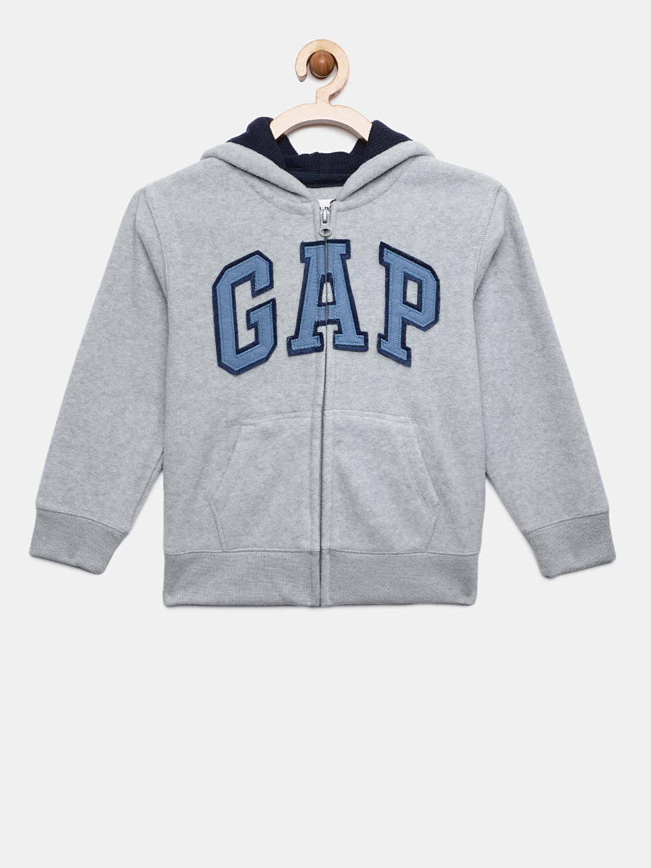 4c7b9d05b Buy GAP Boys  Grey Logo Quarter Zip Sweatshirt - Sweatshirts for ...