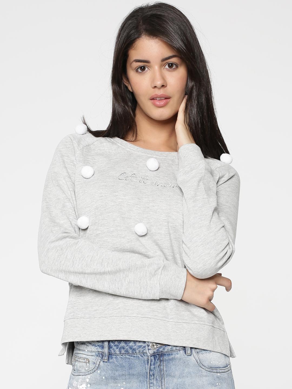 ONLY Women Grey Solid Sweatshirt