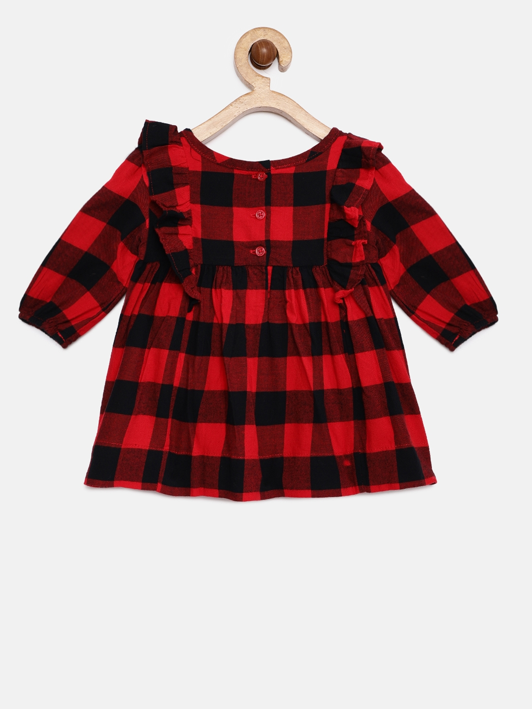 eb8d0619161 Buy GAP Baby Girls  Red   Black Ruffle Yoke Dress With Innerwear ...