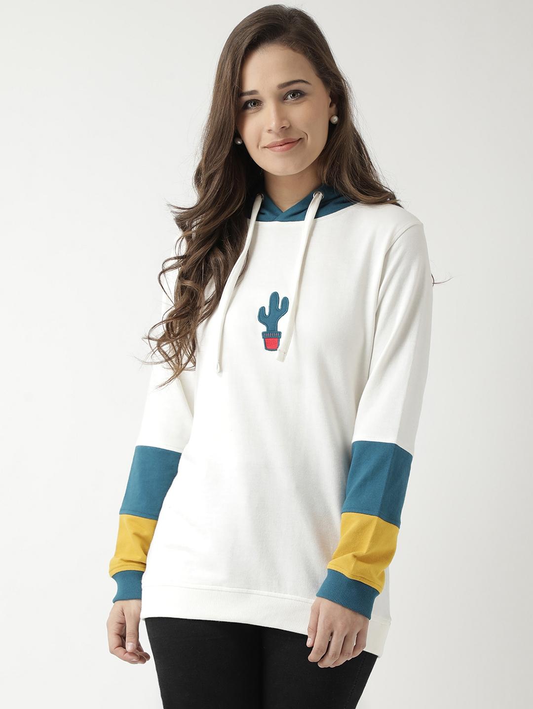 Club York Women Off White Solid Hooded Sweatshirt