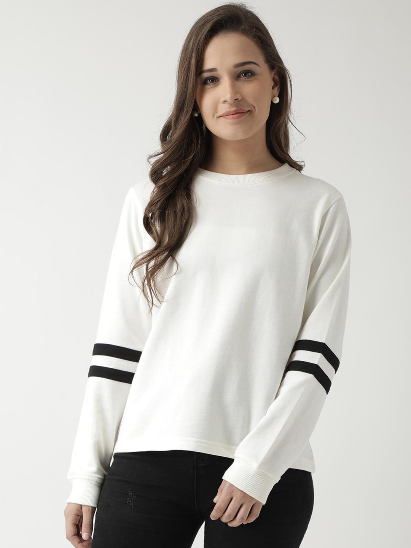 Club York Women Off White Solid Sweatshirt