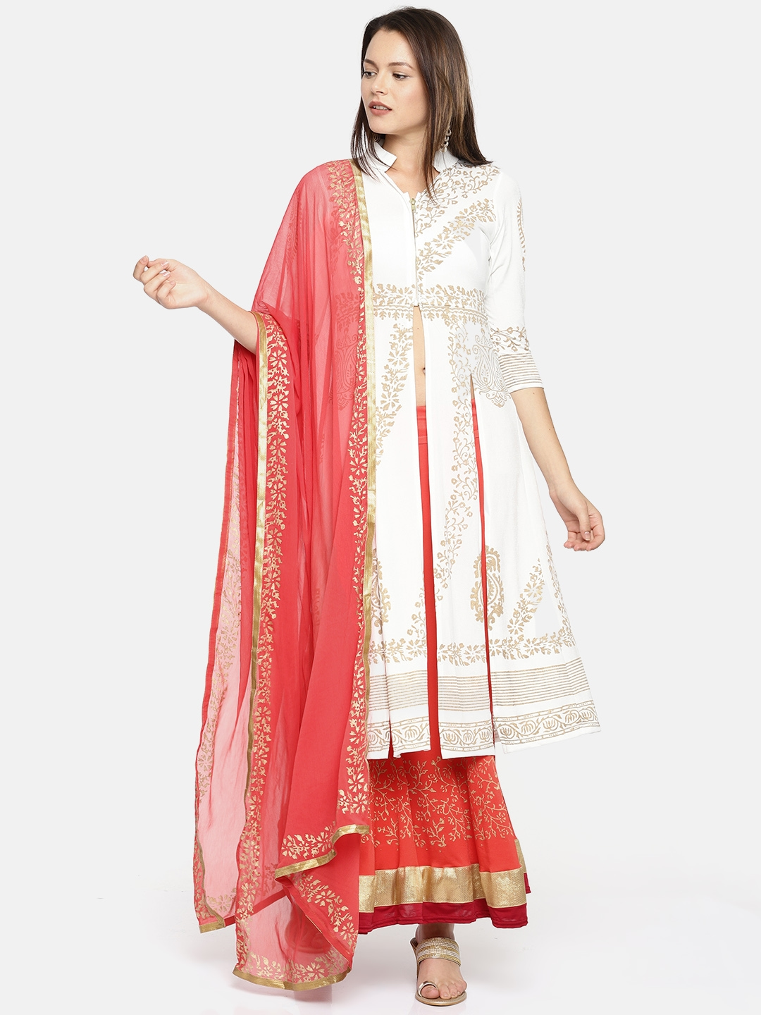 6a522af483 Ira Soleil Off-White & Red Printed Ready to Wear Lehenga & Blouse with  Dupatta