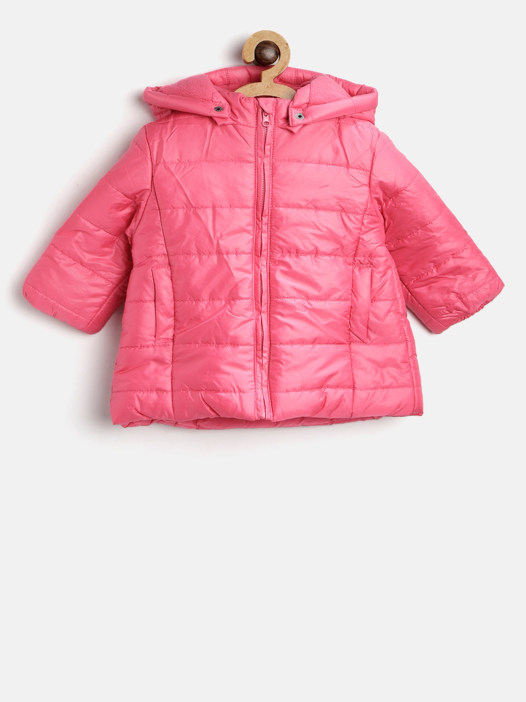 99a4f3fd0 Buy Losan Girls Pink Solid Hooded Puffer Jacket - Jackets for Girls ...