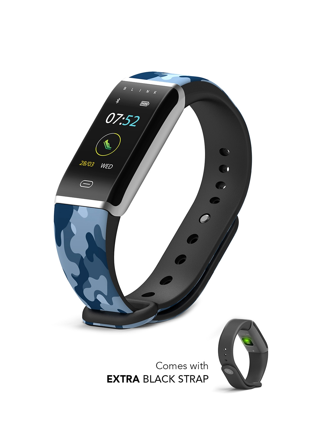 Blink GO   Aqua Silver  extra Black Strap  Fitness Wearable Band