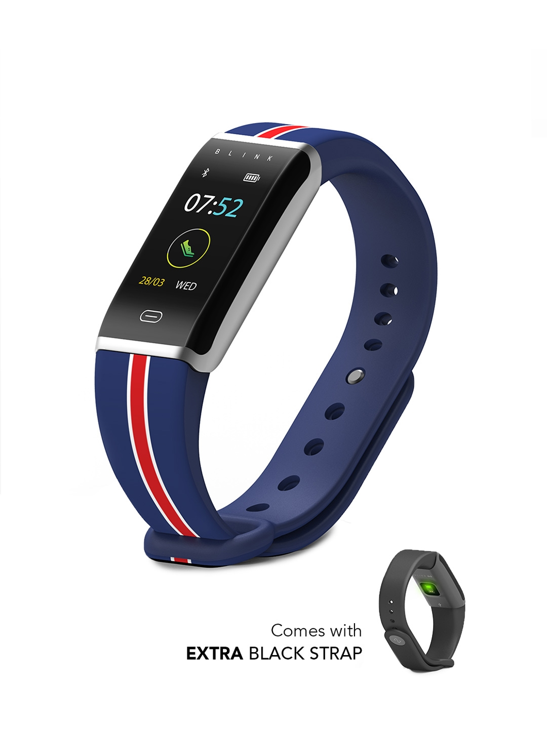 Buy Blink GO Sail Silver (extra Black Strap) Fitness Wearable Band -  Fitness Bands for Unisex 7669350 | Myntra